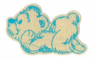 WL60035-208 MOTIF BEAR BEIGE/BLUE - IRON ON  65MM X 40MM Individually packed WL60035-208