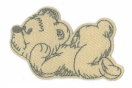 WL60035-256 MOTIF BEAR BEIGE/GREEN - IRON ON  65MM X 40MM Individually packed WL60035-256